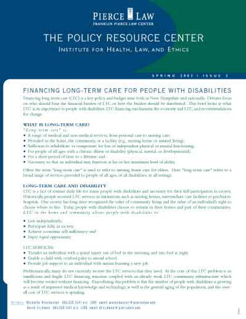 The Policy Resource Center: Financing Long Term Care for People with Disabilities, Issue 2