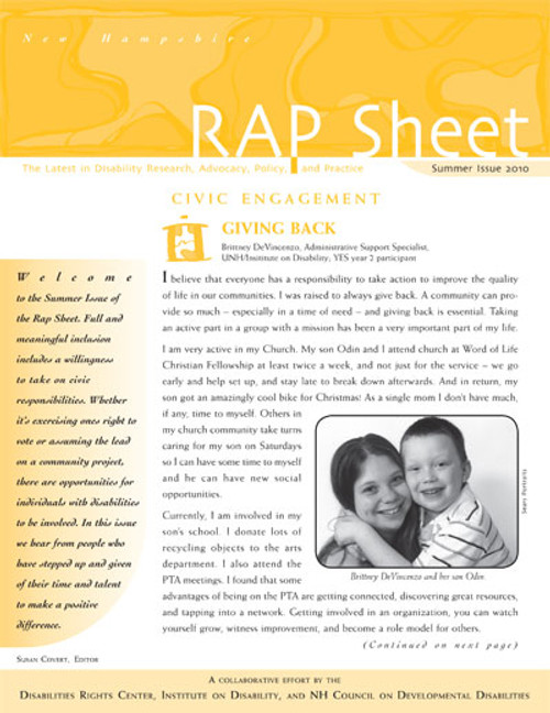 NH RAP Sheet Summer 2010: Civic Engagement