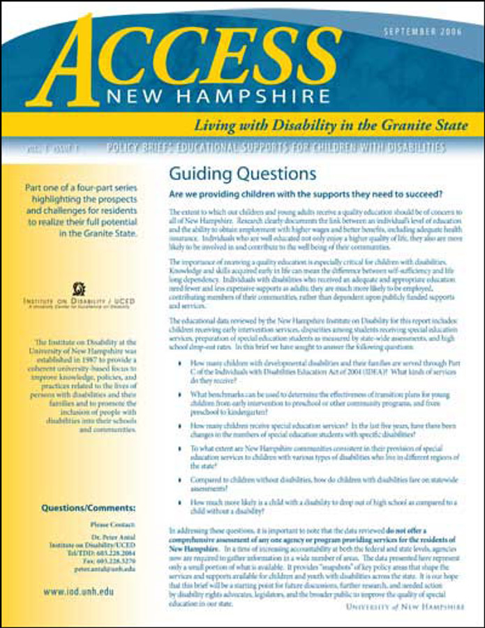 Access NH Policy Brief: Educational Supports for Children with Disabilities
