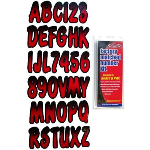 """3"""" Boat Letter and Number Kit - Black and Red"""