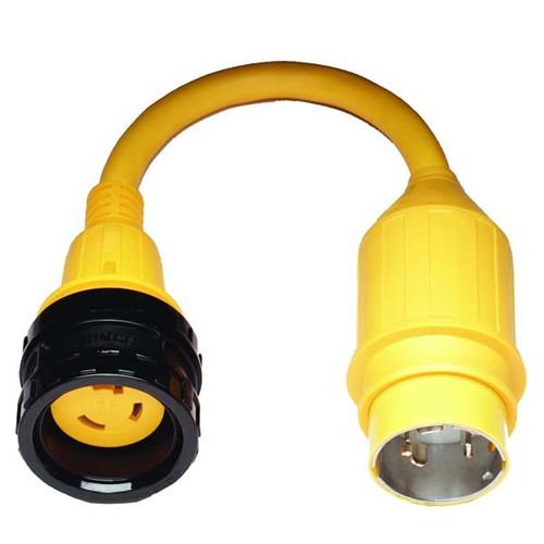 Marinco Pigtail Adapter, 30 Amp Locking to 50 Amp Locking