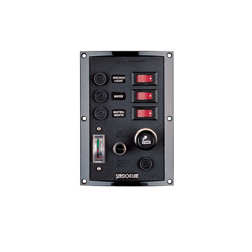 Sea Dog Switch Panel with Lighter and Battery Tester