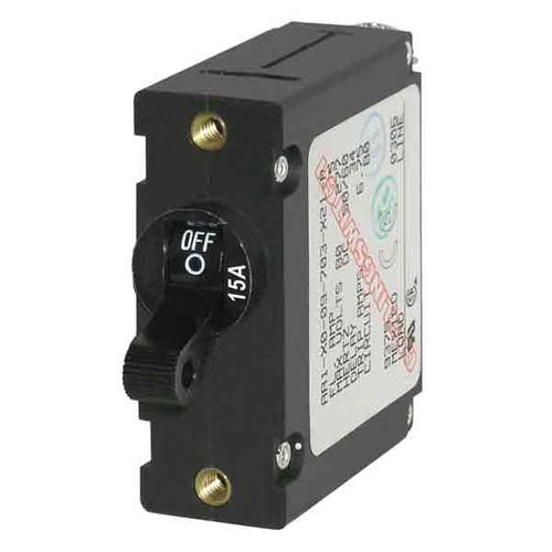 Blue Sea Systems A-Series Black Toggle Circuit Breaker - Single Pole 15A