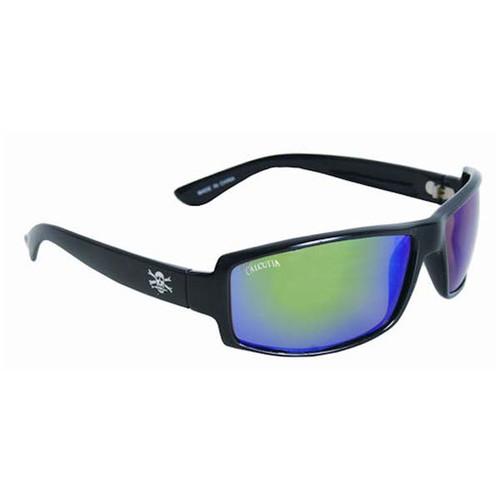 Calcutta New Wave Sunglasses - Black Frame W/ Green Mirror Lens