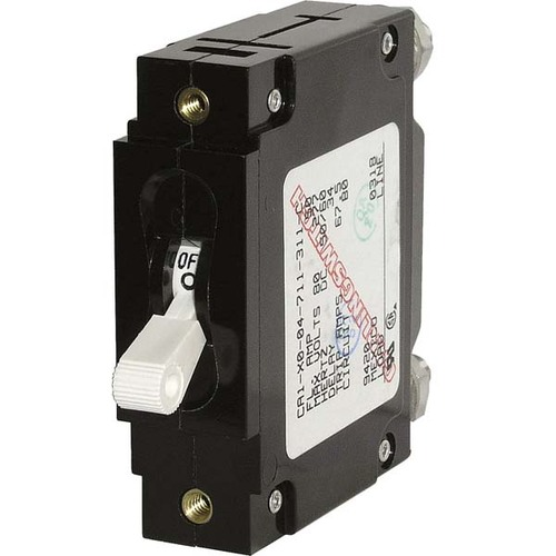 Blue Sea C-Series White Toggle Circuit Breaker - Single Pole