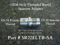 "This adapter is for our standard length OEM style threaded barrel, part # (SR22TB-OEM). This adapter is designed for the (Silencerco Sparrow) suppressor. This adapter allows you to utilize the O-ring feature on the sparrow suppressor that creates a better adapter to  suppressor seal. If you don't have a Sparrow suppressor, our standard 1/2""-28 TPI x.400"" part # (SR22ELTBA) adapter is recommended. Note: this adapter is for Twin Tech Tactical barrel (SR22TB-OEM) only and will not work with Ruger factory threaded barrels."
