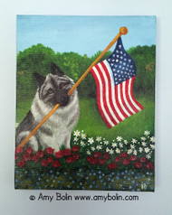 """""""Proud To Be American"""" Norwegian Elkhound Original ART Acrylic Painting on Canvas 8"""" by 10"""" by Amy Bolin"""