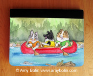 NOTEBOOKS (SEVERAL SIZES AVAILABLE) · SHELTIES ON THE RIVER · BI BLACK, BLUE MERLE, SABLE SHELTIES · AMY BOLIN