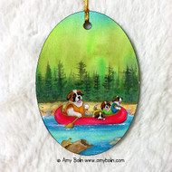 OVAL SHAPED CERAMIC ORNAMENT · SAINTS ON THE RIVER · SAINT BERNARD · AMY BOLIN