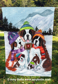 """Generations"" Saint Bernard Dogs by Amy Bolin · House Flag"