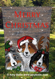 "ONE availble now order by 12/16 for Christmas delivery ""Christmas Buddies"" Blue Merle, Sable, Tri-Color Shelties by Amy Bolin · House Flag"