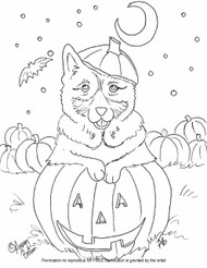 "FREE COLORING SHEET DOWNLOAD · ""Happy Howloween"" · NORWEGIAN ELKHOUND · AMY BOLIN"