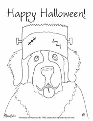 "FREE COLORING SHEET DOWNLOAD · ""Frankensaint"" · SAINT BERNARD · AMY BOLIN"