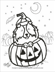 "FREE COLORING SHEET DOWNLOAD · ""Happy Howloween"" · SHELTIE · AMY BOLIN"