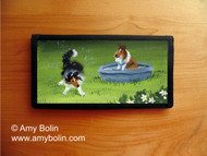 CHECKBOOK COVER · A QUICK DIP · SABLE, TRI COLOR SHELTIE · AMY BOLIN