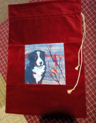 """Handmade Holiday  Velvet  Gift Bag             """"Bernese Mountain Dog with Cardinals """"            By Dawn Johnson"""