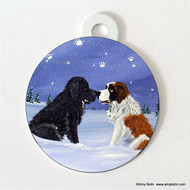 DOUBLE SIDED PET ID TAG · A COLD, WET HELLO · BLACK NEWFOUNDLAND, SAINT BERNARD · AMY BOLIN
