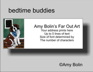 ADDRESS LABELS · BEDTIME BUDDIES · SAINT BERNARD · AMY BOLIN
