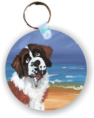 KEY CHAIN · A DAY AT THE BEACH · SAINT BERNARD  · AMY BOLIN