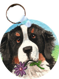 KEY CHAIN · I SAW THIS FLOWER · BERNESE MOUNTAIN DOG  · AMY BOLIN