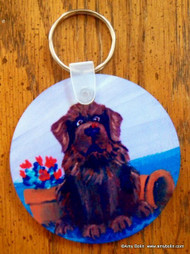 KEY CHAIN · A LITTLE VISITOR · BROWN NEWFOUNDLANDS  · AMY BOLIN