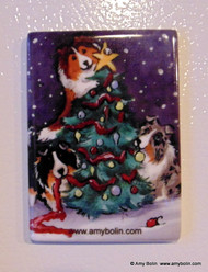 MAGNET · CHRISTMAS TOGETHER · BLUE MERLE, SABLE, TRI COLOR SHELTIES · AMY BOLIN