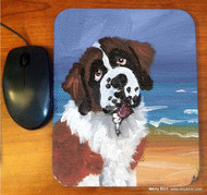 MOUSE PAD · A DAY AT THE BEACH · SAINT BERNARD · AMY BOLIN