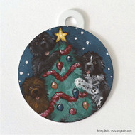 DOUBLE SIDED PET ID TAG · CHRISTMAS TOGETHER · BLACK, BROWN, LANDSEER NEWFOUNDLAND · AMY BOLIN