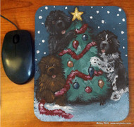 MOUSE PAD · CHRISTMAS TOGETHER · BLACK, BROWN, LANDSEER NEWFOUNDLAND · AMY BOLIN