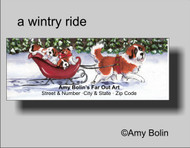 ADDRESS LABELS · A WINTRY RIDE · SAINT BERNARD · AMY BOLIN