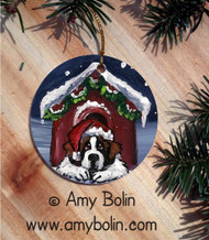 CERAMIC ORNAMENT · BELIEVE · SAINT BERNARD · AMY BOLIN