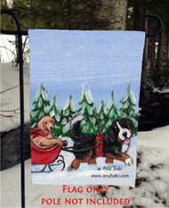 GARDEN FLAG · A WINTRY RIDE · BERNESE MOUNTAIN DOG, GOLDEN RETRIEVER · AMY BOLIN