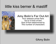 """Little Kiss"" Bernese Mountain Dog, Mastiff Address Labels"