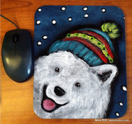 MOUSE PAD ·SNOWY WEATHER · SAMOYED · AMY BOLIN