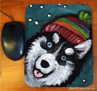 MOUSE PAD ·SNOWY WEATHER · SIBERIAN HUSKY · AMY BOLIN
