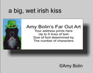 ADDRESS LABELS · A BIG, WET IRISH KISS · IRISH SPOTTED NEWFOUNDLAND · AMY BOLIN