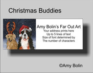 """Christmas Buddies"" Bernese Mountain Dog, Golden Retriever Address Labels"