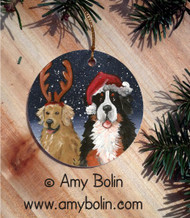 CERAMIC ORNAMENT · CHRISTMAS BUDDIES · BERNESE MOUNTAIN DOG & GOLDEN RETRIEVER · AMY BOLIN