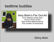 ADDRESS LABELS · BEDTIME BUDDIES · IRISH SPOTTED NEWFOUNDLAND · AMY BOLIN