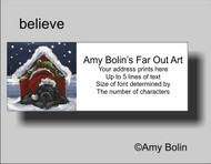 ADDRESS LABELS · BELIEVE · BLACK NEWFOUNDLAND · AMY BOLIN