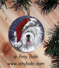 CERAMIC ORNAMENT · SHAGGY CLAWS · OLD ENGLISH SHEEPDOG · AMY BOLIN