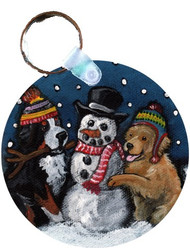 KEY CHAIN · FRIENDS OF SNOW NEED LOVE TO GROW · BERNESE MOUNTAIN DOG & GOLDEN RETRIEVER · AMY BOLIN