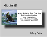 ADDRESS LABELS · DIGGIN' IT · BROWN NEWFOUNDLAND · AMY BOLIN