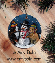 CERAMIC ORNAMENT · FRIENDS OF SNOW NEED LOVE TO GROW · BERNESE MOUNTAIN DOG & GOLDEN RETRIEVER · AMY BOLIN