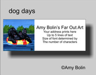 ADDRESS LABELS · DOG DAYS · BLACK NEWFOUNDLAND · AMY BOLIN