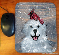 MOUSE PAD ·WINTER BUDDIES · GREAT PYRENEES & CARDINAL · AMY BOLIN