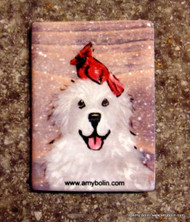 MAGNET · WINTER BUDDIES · GREAT PYRENEES & CARDINAL · AMY BOLIN