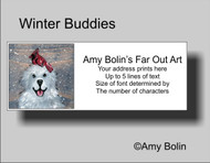 ADDRESS LABELS · WINTER BUDDIES · GREAT PYRENEES & CARDINAL · AMY BOLIN