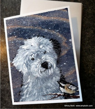 NOTE CARDS · WINTER BUDDIES · OLD ENGLISH SHEEPDOG & CHICKADEE · AMY BOLIN