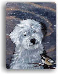 MAGNET · WINTER BUDDIES · OLD ENGLISH SHEEPDOG & CHICKADEE · AMY BOLIN